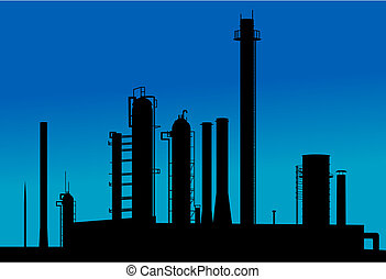 Silhouette of industrial factory on sunset time