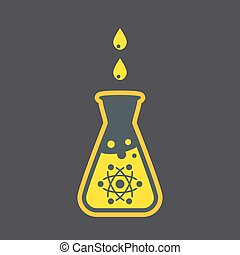 Chemical flask icon, nuclear research