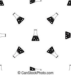 Chemical flask pattern seamless black