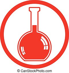 Chemical flask vector icon.