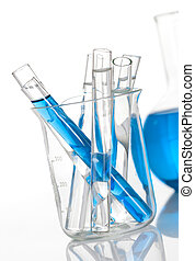 Chemical flask with a group of tubes inside