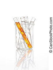 Chemical flask with a yellow test tubes inside
