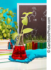 Chemical flask with experimental liquid