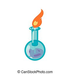 Chemical flask with flame icon, cartoon style