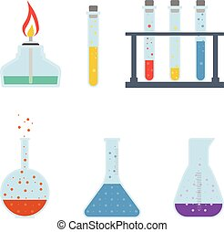 Chemical Flasks Isolated On A White Background. Vector Icon Set.
