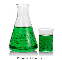 Chemical flasks with green liquid on white background