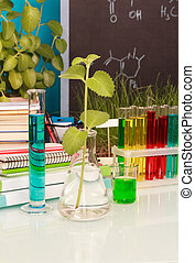 Chemical flasks with liquid