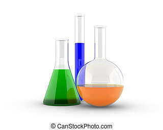 chemical flasks with reagents