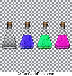 Chemical flasks with reagents on a transparent background Vector