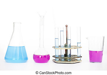 Chemical flasks with reagents on table