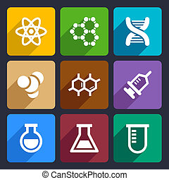 Chemical Flat Icons Set for Web and Mobile Applications