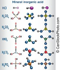 Chemical formula and molecule model mineral inorganic acid. ...