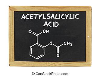 chemical formula of acetylsalicylic acid on a blackboard