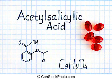 Chemical formula of Acetylsalicylic Acid with red pills....