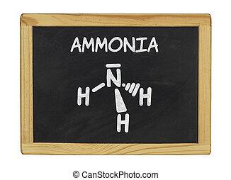 chemical formula of ammonia on a blackboard