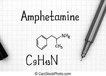 Chemical formula of Amphetamine with black pen.