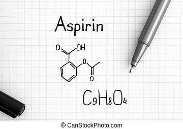 Chemical formula of Aspirin with black pen.