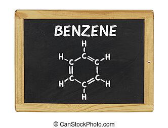 chemical formula of benzene on a blackboard