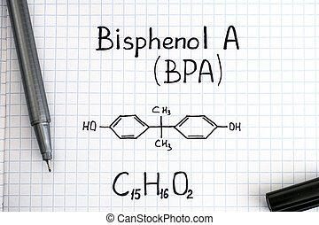 Chemical formula of Bisphenol A (BPA) with black pen.