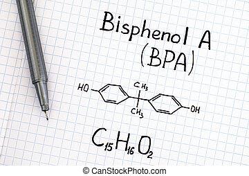 Chemical formula of Bisphenol A (BPA) with pen.