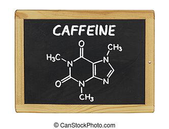 chemical formula of caffeine on a blackboard