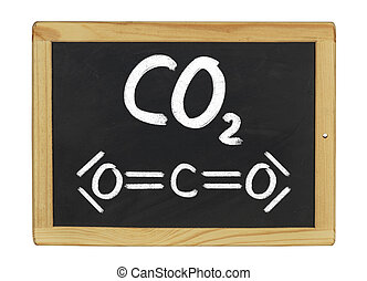 chemical formula of carbon dioxide on a blackboard