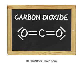 chemical formula of carbon dioxide on a blackboard