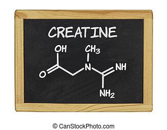 chemical formula of creatine on a blackboard