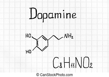 Chemical formula of Dopamine. Close-up.