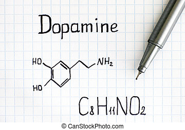 Chemical formula of Dopamine with pen. Close-up.