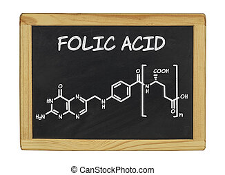 chemical formula of folic acid on a blackboard