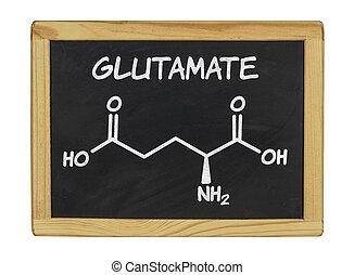 chemical formula of glutamate on a blackboard