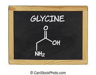 chemical formula of glycine on a blackboard