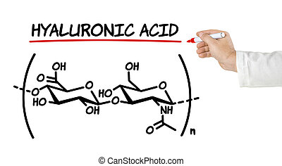 Chemical formula of hyaluronic acid on a white background