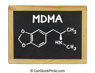 chemical formula of MDMA on a blackboard