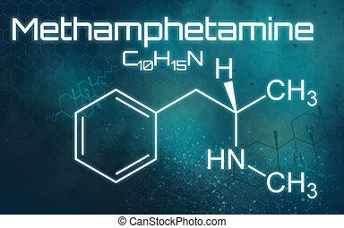 Chemical formula of Methamphetamine on a futuristic...