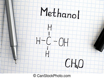 Chemical formula of Methanol with black pen.