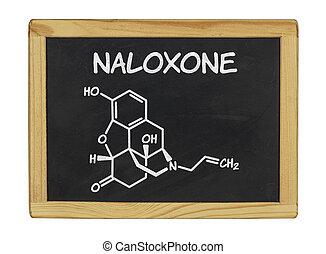 chemical formula of naloxone on a blackboard