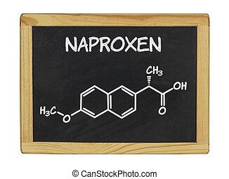 chemical formula of naproxen on a blackboard