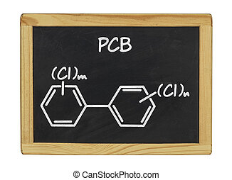 chemical formula of pcb on a blackboard