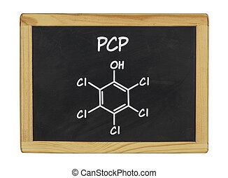 chemical formula of pcp on a blackboard