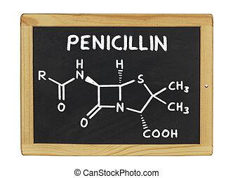 chemical formula of penicillin on a blackboard