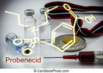 Chemical formula of probenecid, concept of doping in the sport