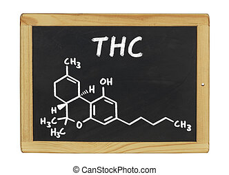 chemical formula of THC on a blackboard