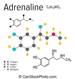 Chemical formula of the vector adrenaline molecule