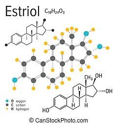 Chemical formula of the vector estriol molecule