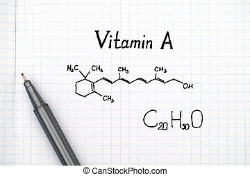 Chemical formula of Vitamin A with pen