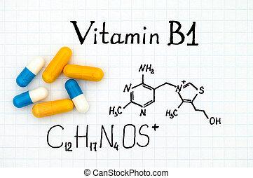 Chemical formula of Vitamin B1 and pills - Chemical formula ...