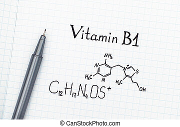 Chemical formula of Vitamin B1 with pen - Chemical formula ...