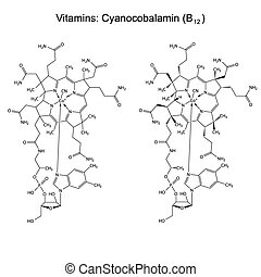 Chemical formula of vitamin B12 - cyanocobalamin